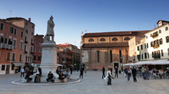 ITALY, VENICE: 29 April 2013, Campo santo stefano square view Venice, Italy Stock Footage