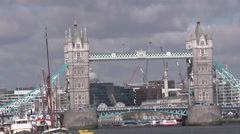 Tower Bridge and new additions to the London skyline Stock Footage
