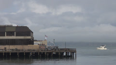 Ferry enter harbor cruise station San Francisco bay ocean water passenger day US Stock Footage