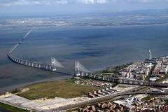 Lisbon Vasco da Gama Bridge - stock photo