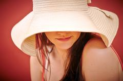 Seductive woman in summer ware Stock Photos