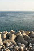 Tetrapod breakwater - stock photo
