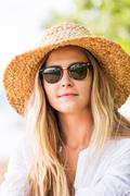 Fashion lifestyle, attractive woman in hat Stock Photos