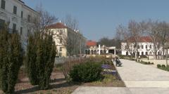 Balatonfured Hungary Square and Sanatorium Heart Hospital 4 Stock Footage