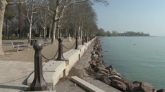 Balatonfured Hungary Tagore Walkway, shore of Lake Balaton Stock Footage