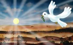 White dove brings a sign of peace Stock Illustration