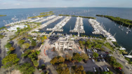 Stock Video Footage of Flying over a marina in Coconut Grove, Miami Florida filmed with the DJI Phantom