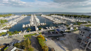 Stock Video Footage of Steady Aerial View of a Marina