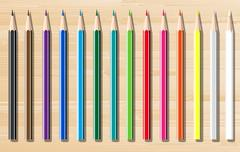 colorful crayons - stock illustration