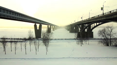 Two bridges over the river Ob, Novosibirsk, Russia Stock Footage