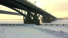 Bridge over the river Ob, Novosibirsk, Russia Stock Footage