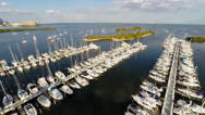 Stock Video Footage of DJI Phantom Aerial view of a Marina & Miami City Hall in Miami, Florida