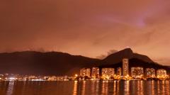 Pan The Lagoon Rio de Janeiro cloudy sky night time lapse Brazil Stock Footage
