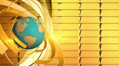 Rotating earth with Gold bullion, loop Stock Footage