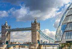 Beautiful view of Tower Bridge with surrounding Buildings - Lond Stock Photos