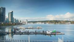 HD Vancouver Condos and Coal Harbour City Pan Shot, Seaplane Stock Footage