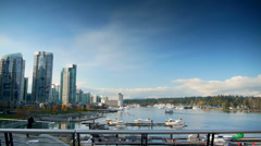 Vancouver BC, Coal Harbour, Camera Pan Stock Footage
