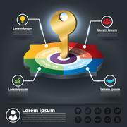 Circle infographics of key success factors Stock Illustration