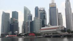 Singapore Skyline - DAY Tilt Up from Water - stock footage