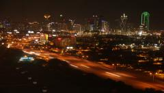 Timelapse - DALLAS Skyline Traffic at Night - stock footage
