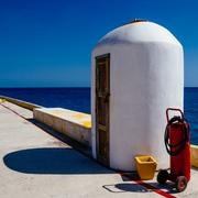 Pier Storage Scuba Tank - stock photo