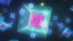 Digital Atom with background - stock footage