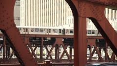 Chicago El - over bridge - stock footage