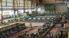 Metallurgical plant inside view. Pipe rolling mill Stock Footage
