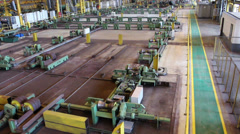 Top view of rolls for tube rolling at pipe-rolling mill. Reconstructed line Stock Footage