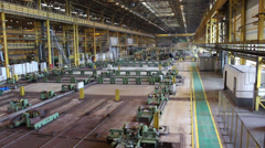 Russian metallurgical plant inside view. Pipe rolling works. Russia Stock Footage