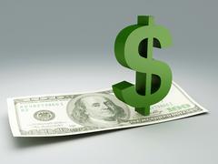 dollar bill and symbol - stock illustration