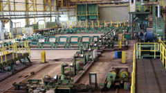 Stopped line on pipe-rolling mill with rolling equipment Stock Footage
