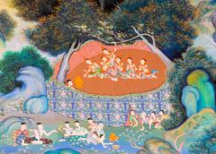 Thai mural painting of the life of buddha Stock Photos