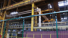 Industrial crane large tonnage on metallurgical plant Stock Footage