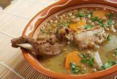 French soup with lentils and dijon mustard Stock Photos