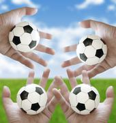 Let's play football together concept Piirros