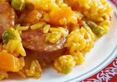 arroz con chorizo - stock photo