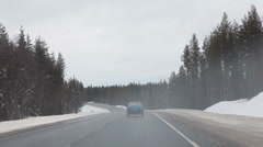 Winter driving, follow the car in northern of Russia. Icy road Stock Footage