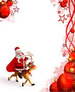 Santa claus with reindeer rudolph - stock illustration