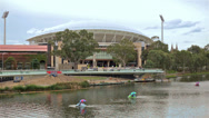 Stock Video Footage of Adelaide Oval Stadium looking over River Torrens