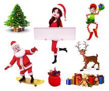 Santa claus standing on skating board - stock illustration