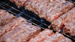 Barbecue Minced Meat Kebab on Electric Grill 1 Stock Footage