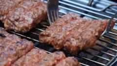 Barbecue Minced Meat Kebab on Electric Grill 2 Stock Footage