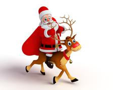 Santa claus with reindeer rudolph and gifts bag Stock Illustration