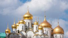 Clouds over gold domes of Annunciation Cathedral in  Moscow Kremlin, timelapse Stock Footage