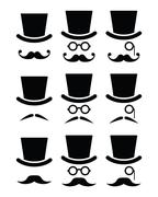 Mustache or moustache with hat and glasses icons set Stock Illustration