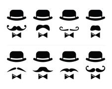 Gentleman icon - man with moustache and bow tie set Stock Illustration