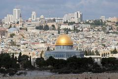 View on old Jerusalem and Dome of the Rock temple - stock photo