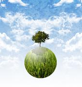 Plant the tree for stop global waming, sustainable concept Stock Illustration