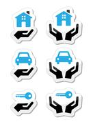 Home, car, keys with hands icons set - stock illustration